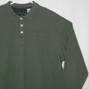 Orvis Long Sleeve Polo, XLarge, Green